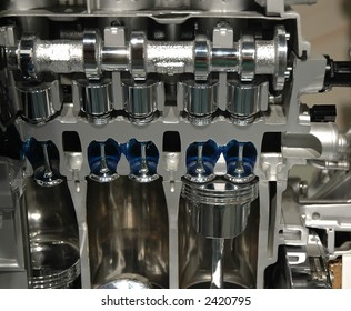 Cross section of piston area of a car engine