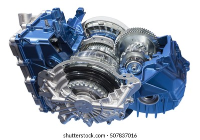 Cross section of a transmission part isolated over white background