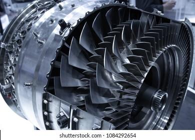 Cross section of turbofan jet engine
