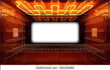 A cross section upclose view from inside an empty hot operational household oven looking towards the shut door - 3D render