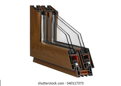 A cross section of wood effect Double glazing cut away to show the inner profile and construction quality,Design of pvc profiles for window