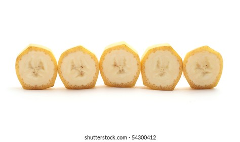 Cross Sections of banana isolated on white