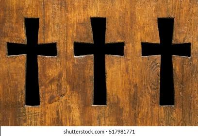 Cross shape holes in wood
