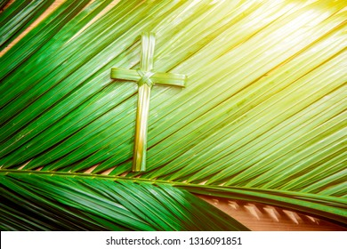 Cross shape of palm leaf on palm branches with ray in wooden background. Palm Sunday concept