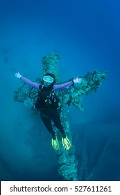 Cross shaped bow of Chrisoula K wreck in Abu Nuhas, Red Sea.