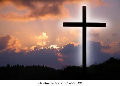 Cross and sky.