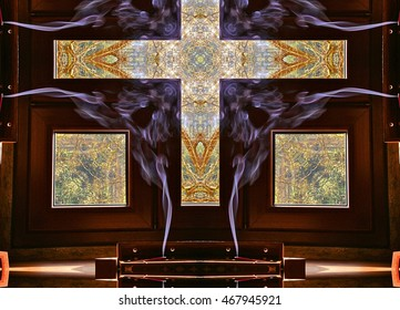 Cross of smoke, Photograph of kaleidoscopic art, although religion is basically made of smoke that gives the fear of death, ignorance and misery, it gives, however, consistency of steel,