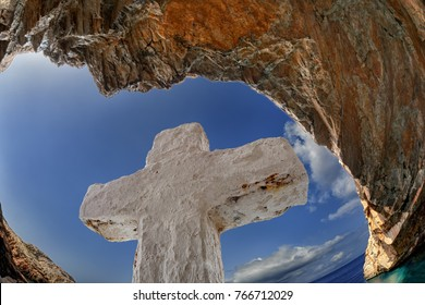 The Cross at St. Stephan cave, in Syros island, Cyclades, Greece