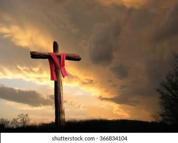 cross in storm