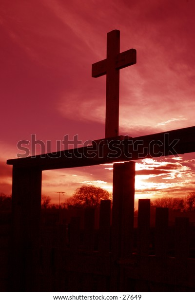 Cross and sunset.