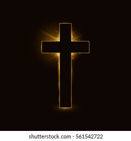 Cross, symbol of the Christian faith on black glowing background.
