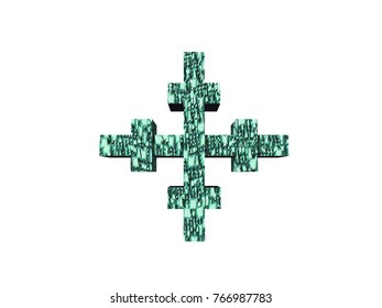 Cross symbols 3D rendering