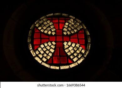 Cross of templar in a church