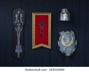 cross of templar and sword on black wooden background