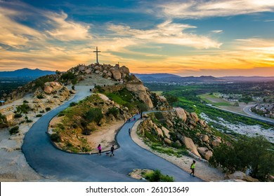 The cross and trails at sunset, at Mount Rubidoux Park, in Riverside, California.