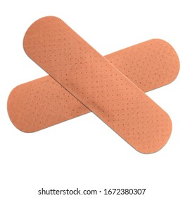Cross of two brown Adhesive Bandage. (clipping path)