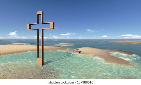cross in water with shadow made in 3d software