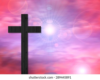 Cross of wood,sun, and sky background