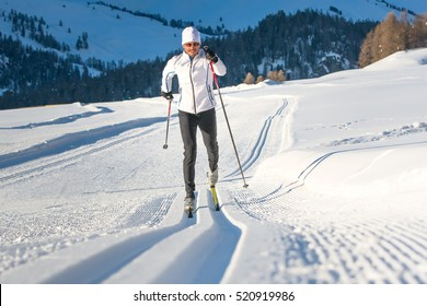 Cross-country skiing classic technique  practiced by man