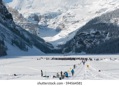 Cross-Country Skiing on the frozen Lake Louise, Alberta, Canada