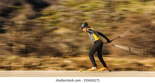cross-country skiing with roller ski