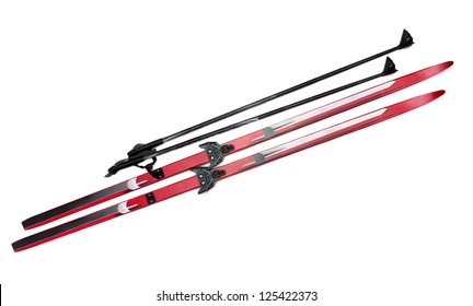 Cross-country skis and poles isolated on white