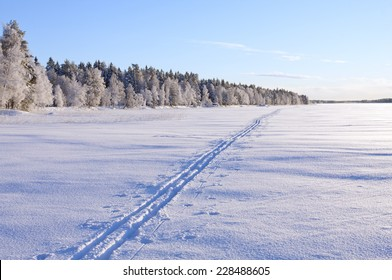 A cross-country track passes over a lake in sunshine. Forest and trees in snow and frost in the background.