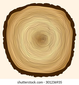 Crossection of tree trunk, cut stump, wooden cut texture. wooden trunk flat style image, wooden stump web icon, wooden background concept for design, wooden stump illustration, wooden cut picture