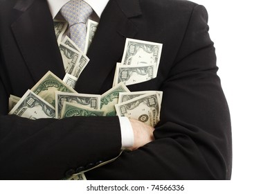 Crossed arms with dollars. Isolated over white.