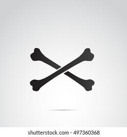 Crossed bones icon isolated on white background.