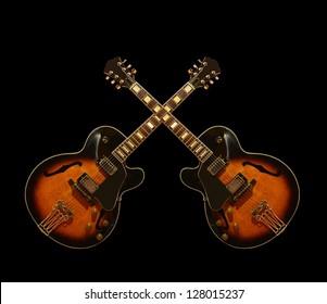 Crossed guitars/Jazz guitar / Hollow body electric guitar / Guitar / Vintage guitar