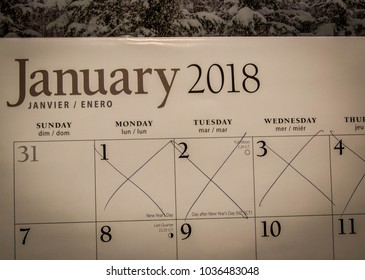 Crossed out calendar