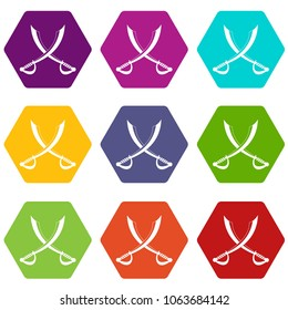 Crossed sabers icon set many color hexahedron isolated on white illustration