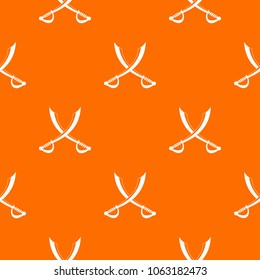 Crossed sabers pattern repeat seamless in orange color for any design. geometric illustration