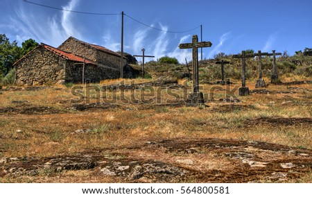 Crosses calvary in a rural village, Vila Real, Portugal