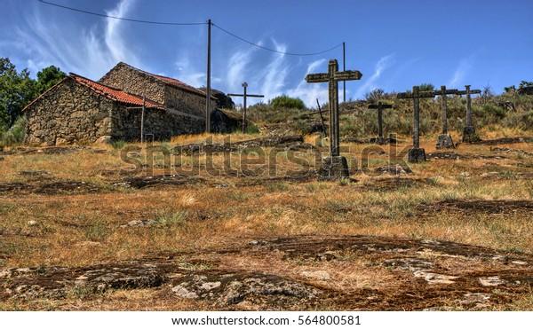 Crosses calvary in a rural village, Vila Real, Portugal