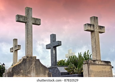 Crosses in the catholic cemetery of Alcudia (Majorca - Balearic Islands)