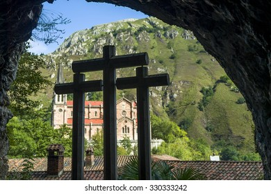 crosses in the covadonga sanctum, asturias, Spain