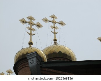 Crosses on the corner of a Russian Orthodox Church in Khabarovsk