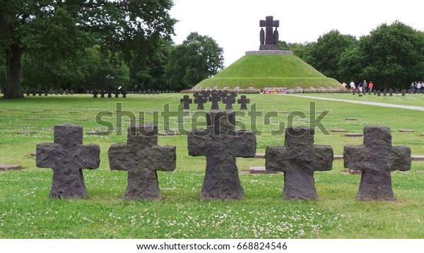 Crosses on military cemetery