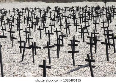 Crosses represting the loss of life in Haiti.