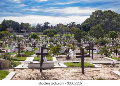 Crosses and tombstones at a cemetery