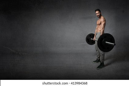crossfit exercises with weights, empty space