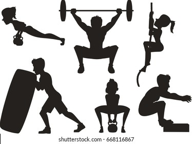 crossfit training silhouettes vector