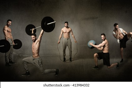 crossfit workout concept, abstract background