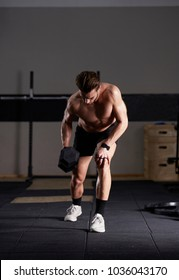 crossfit workout in fitness club