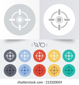 Crosshair sign icon. Target aim symbol. Round 12 circle buttons. Shadow. Hand cursor pointer.