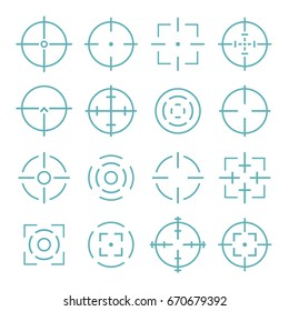 Crosshairs icons set in line style.  Aiming and target  to bullseye  illustration.