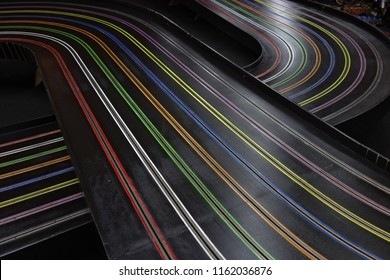 """Crossing of 8 lane """"Blue King"""" slot car track. This kind of track is recognized for world records in 1:24 scale racing."""
