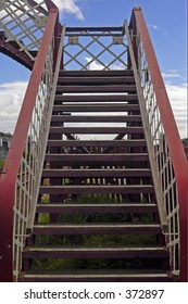 A crossing bridge over the railway line, Carnoustie, Scotland, may 2005